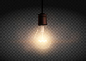 Template Edison retro light bulb is glowing in the dark. Isolated on a transparent background.