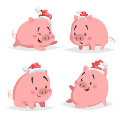 Cute cartoon piglet in santa hats set. Chinese symbol of 2019 year. Funny and cheerful farm animals collection. Isolated on white background.