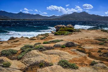 Mediterranean sea and rocky coastline in Corsica