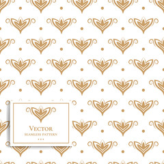 Gold and white floral seamless pattern. Vintage vector, paisley elements. Traditional,Turkish, Indian motifs. Great for fabric and textile, wallpaper, packaging or any desired idea.
