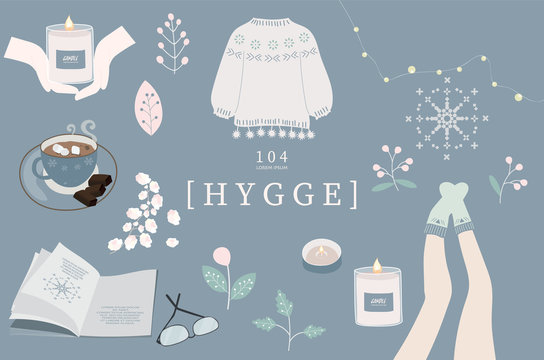 Blue set of hygge cards and posters with candle,hand,sock,leg,coffee,flower,leaf,book,glasses and light