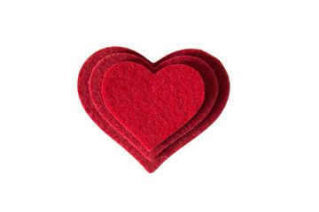 Read heart made of wool felt, with love