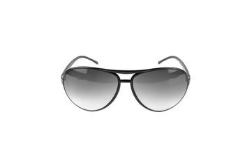 Black sunglasses on white background.