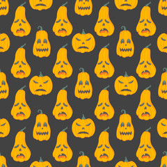 Seamless pattern. Halloween pattern with angry pumpkins. Perfect for prints, flyers, banners, invitations, greeting scrapbooking, congratulations and more.Vector Halloween illustration.
