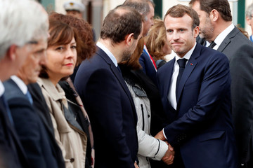 French President Macron visits flood victims in Aude region