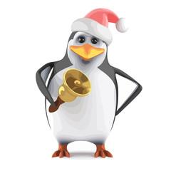 Vector 3d Santa penguin rings his bell