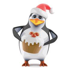 Vector 3d Santa penguin has a tasty Xmas cake