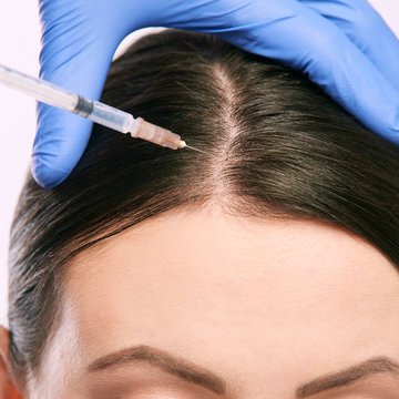 woman face injection. salon cosmetology procedure. skin medical care.  dermatology treatment. anti aging wrinkle lifting