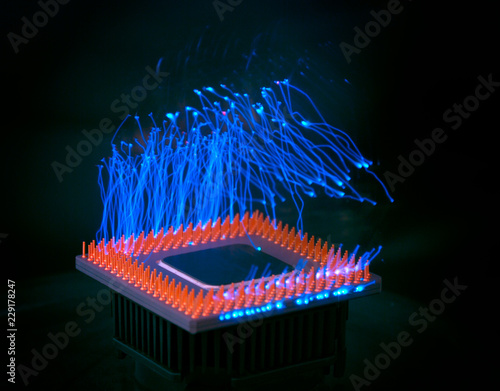 Burn out concept  Burning overload CPU overheating  Blue lightning