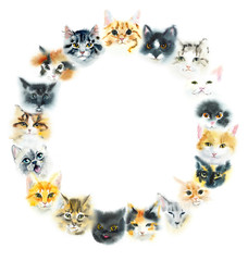 Circle frame from domestic cats. Watercolor hand drawn illustration