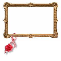 Golden framed frame with decorations on a white background
