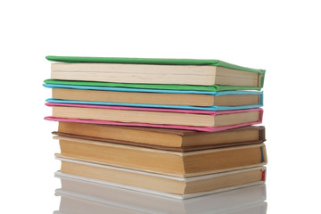 Stack of books on a white isolated background. Old books. Education. school. study