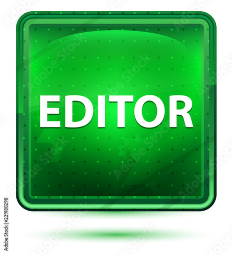 Editor Neon Light Green Square Button