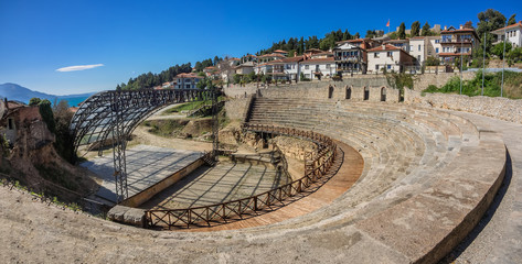 Foto op Plexiglas Theater Ancient roman theater in Ohrid in Macedonia