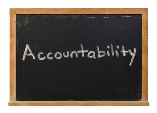 Accountability written in white chalk on a black chalkboard isolated on white