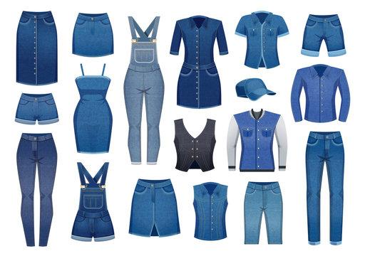 Denim Clothing Icons Set