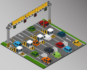 Vector isometric illustration of a border checkpoint and the surrounding road infrastructure.