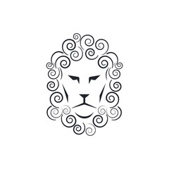 Lion head icon on white background. Vector illustration.