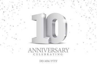 Anniversary 10. silver 3d numbers.