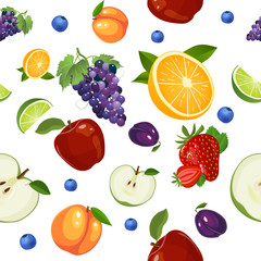Fruits seamless pattern isolated on white background