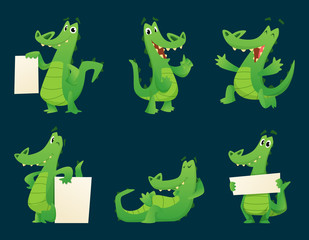 Alligator characters. Wildlife crocodile amphibian reptile animal cartoon mascot poses vector illustration set. Alligator with banner for advertising, placard poster