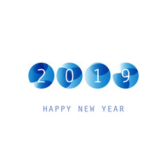 Simple Blue and White New Year Card, Cover or Background Design Template - 2019