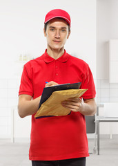 The man works as a courier.