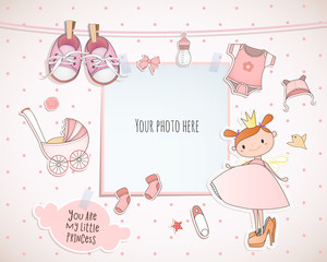 Baby girl shower card. Little princess. Arrival card with place for your photo.