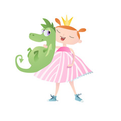 Cute little princess with dragon. Vector. Character design.