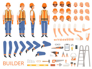 Engineer character animation. Body parts and specific tools of builder constructor with head body arms hands vector. Builder animation construction, creation kit, worker engineer illustration