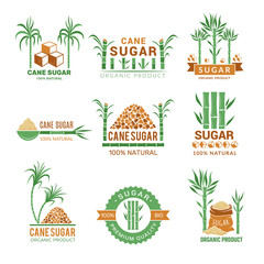 Sugarcane manufacturing. Sweets plants production farm industry leaf vector badges or labels with place for your text. Illustration of eco agriculture production sugar