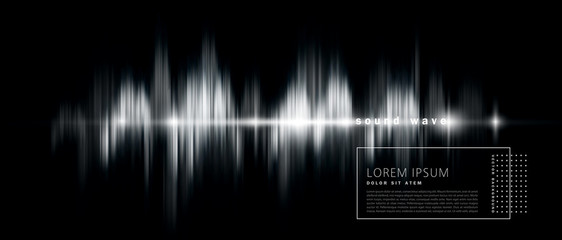 vector abstract background with a sound wave, black and white version. Element for design, template, banner