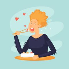 Woman eat sushi, rolls, japanese food, chinese food. Flat design vector illustration