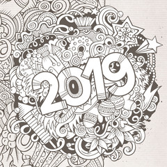 2019 hand drawn doodles contour line illustration. New Year poster.