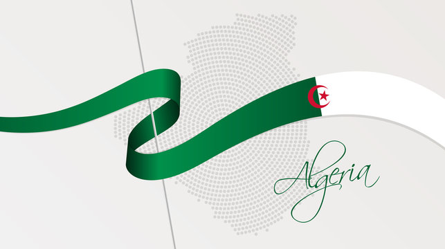 Wavy national flag and radial dotted halftone map of Algeria