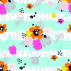 seamless floral pattern with flowers and leaves on stripes and brush strokes background