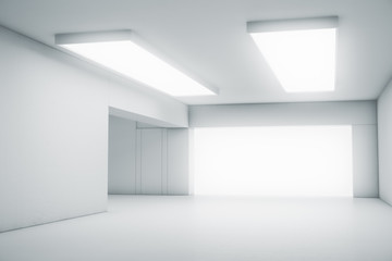 Empty abstract white room with the gate and glowing light. Interior concept background. 3d illustration