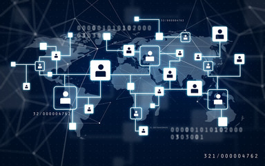 communication, connection and technology concept - virtual icons of social network over world map on dark blue background