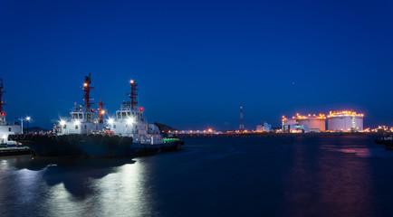 Beautiful cruise ship and dock night view