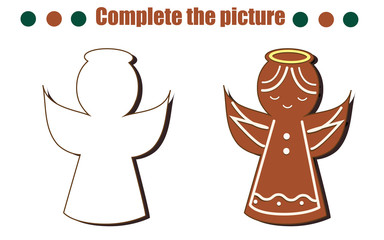 Complete the picture educational game. Draw angel gingerbread cookie. New Year, Christmas theme activity for toddlers, kids