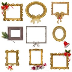 Set of frames with decorations on a white background