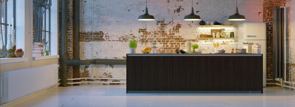 kitchen in vintage brick loft apartment