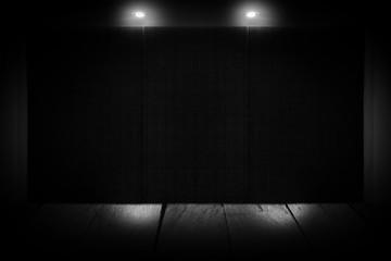 Ceiling light and dark wall background for texture. Abstract dark wall background.