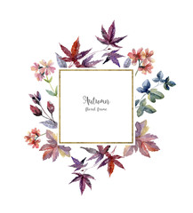 Watercolor floral frame in autumn colors on white background.