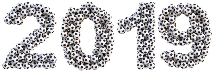 new 2019 year from the soccer balls. isolated on white. 3D illustration