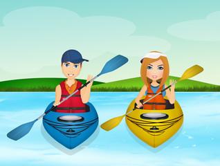 boy and girl with kayak