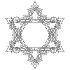 Halloween Star of David. Human hand bones and dog-rose flowers arranged in antcient religious symbol of Judaism. Tattoo design. Isolated on white background. EPS10 vector illustration