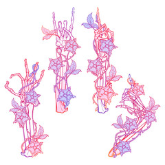 .Set of skeleton hands with various gestures decorated with dog-rose garlands. Trendy colored line drawing isolated on white background. EPS10 vector illustration