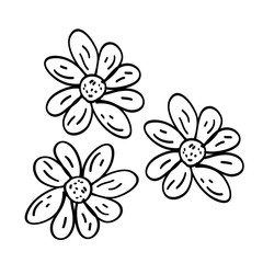 doodle flower cartoons on white background