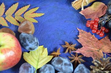 Autumn harvest, grapes, autumn fallen leaves, apples, plums, cinnamon, anise. wild grapes in autumn in the rain